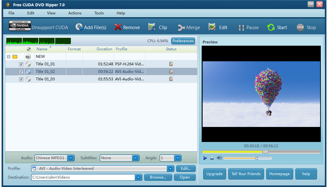 Free CUDA DVD Ripper full screenshot