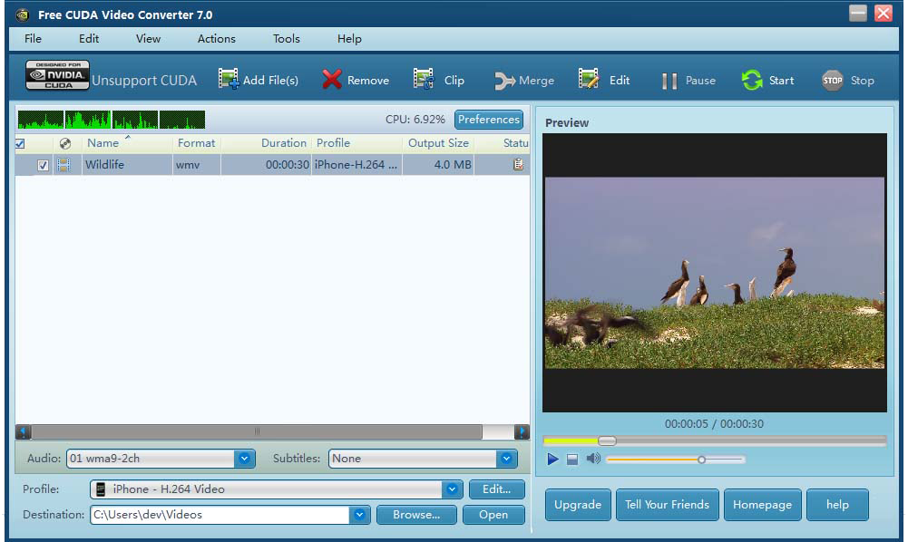 Windows 7 Free CUDA Video Converter 7.31 full